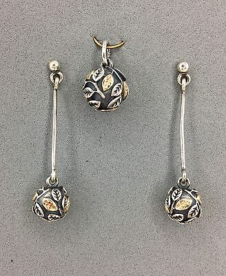 Pandora Tree of Life Sterling Pendant & Earrings 14k Accents 390121 290146
