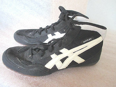 ASICS MATFLEX WRESTLING SHOES~Black & White~Lace Guards~Youth 5.5~CY727