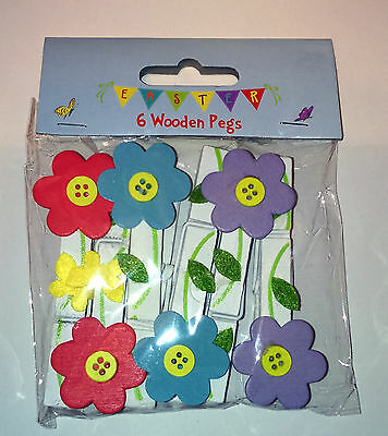6 WOODEN FLOWER PEGS Spring Bunting Hanging Ornaments GIFT TAG Placecard NOTICES
