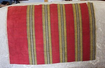 Hand Loomed Antique 19thC Red Linen & Metallic European Striped Fabric~Christmas