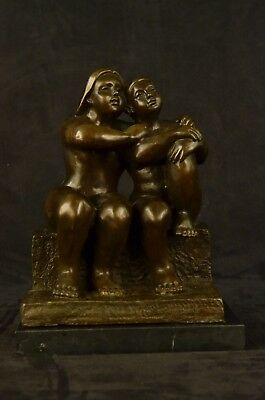 Signed Botero Lesbian Couple Abstract Statue Figurine Bronze Sculpture EX