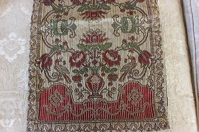 Antique Vintage c1920 Silky & Metallic Woven Jacquard Center Mat~Holiday Table