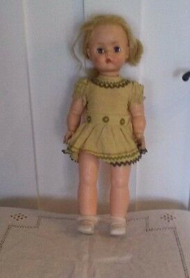 Vintage Horsman blonde haired girl doll, 17 in. sleep eyes, with clothes