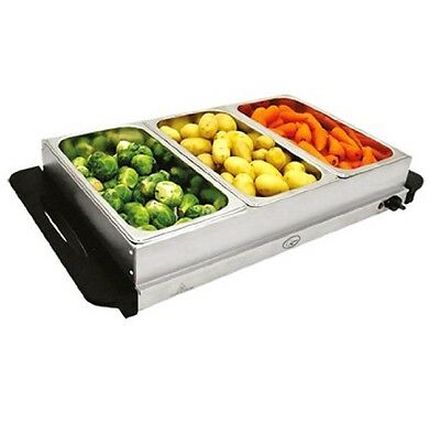 Compact S/s Electric 3 Section Pan Buffet Food Server Hot Plate Warmer Tray