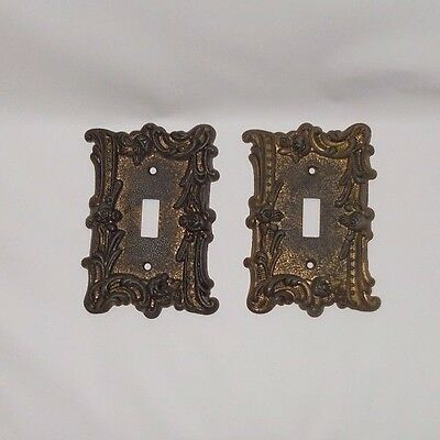 2 Vintage Edmar Light Switch Plate Cover Ornate Roses/Floral Brass/Bronze 60T