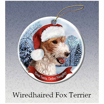 Fox Wirehaired Terrier Howliday Porcelain China Dog Christmas Ornament