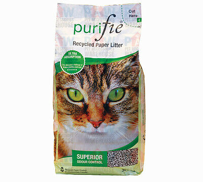 PURIFIE Recycled Paper Cat Kitty Litter 30L - NO.1 Choice for Breeders & Owners
