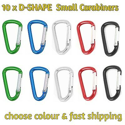 10 x D Carabiner Clip Snap Key Ring Chain Hook Keychain Aluminium Camping Hiking
