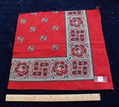 "Antique French Classic Printed Cotton Bandana Sample c1870~13"" Square"