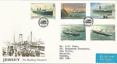 Uk Gb Jersey Large Cacheted Fdc 1989: 5 Railway Steamers Ships Stamps