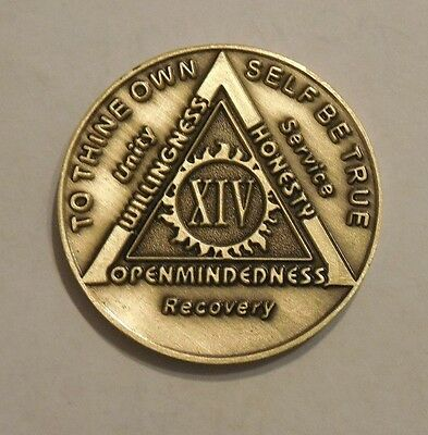 aa bronze alcoholics anonymous 14 year sobriety chip coin token medallion NEW
