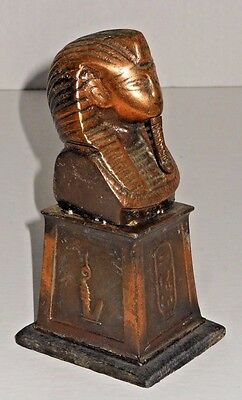 Egyptian King Tut Bust on Plinth Base w/ Hieroglyphics (1 of 3)