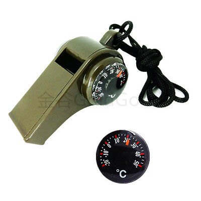 Army Green 3-in-1 Multifunctional Outdoor Survival Whistle w Compass Thermometer
