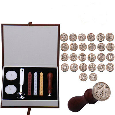 Classic Initial 1 Letter A-Z Alphabet Wax Badge Seal Stamp Kit Wax Set Tool