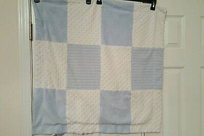 "Baby boy Blanket by Kyle & Deena 30""X30"" Blue & White Plush Squares Minky Lovey"