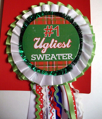 "#1 First Prize Ugly Christmas Sweater Party Winner Badge Ribbon 12"" Long New"