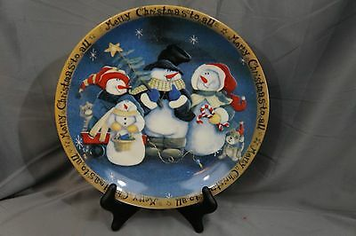 "SNOWMAN FAMILY Christmas Holiday Winter Cookie 10.5"" Serving Tray Plate Dish"