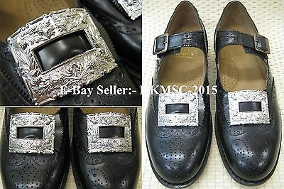 British Military Highland Pipers Brogues Buckles / Thistle Design Buckles Pair