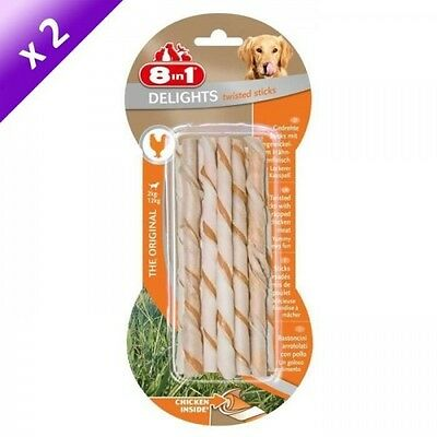 8in1 Lot de 2 Delights Sticks Torsadés 10pcs Os a mâcher pour chien 55g