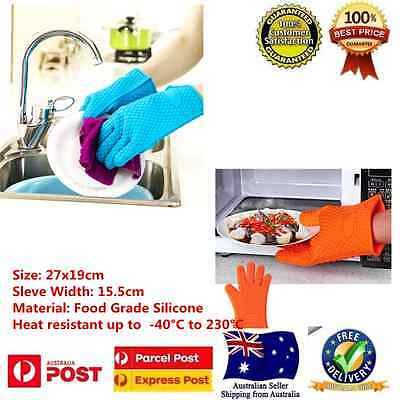 Silicon Heat Resistant  BBQ Mitts Pot Holder Kitchen Baking Oven Gloves