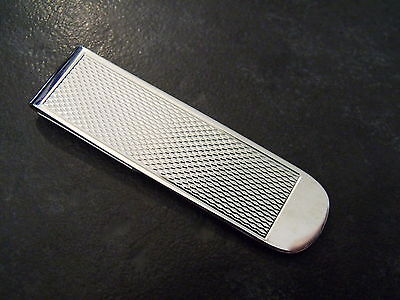 Solid Sterling Silver Hallmarked Engine Turned Money Clip - New