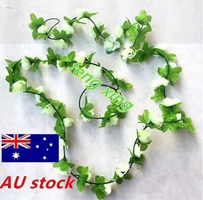 8.5Ft Fake Silk Rose Flower Artificial Ivy Vines Garland Wall Home Floral Decor