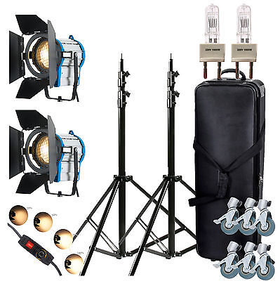 2 × 1000W Fresnel Wolfram Spot Light Räder Dimmer Video + Birne + Barndoor flieg
