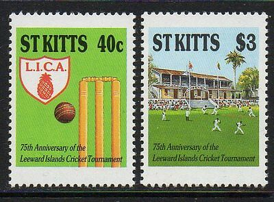 ST.KITTS SG261/2 1988 75th ANNIV OF LEEWARD IS. CRICKET TOURNAMENT MNH