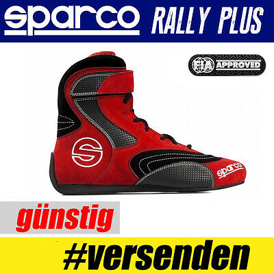 FIA SPARCO Schuhe Suede Fahrerschuh Rallye Rally Plus, ROT HIT Sport
