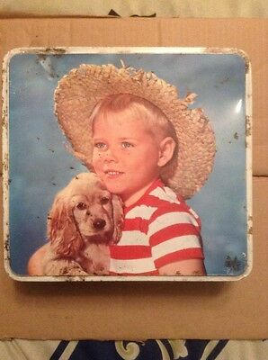 Burton's Vintage Retro Gold Medal Biscuit Tin. Boy With Dog.
