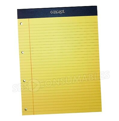 1x A4 Legal Refill Pad Yellow Punched Ruled & Margin 60gsm. Taped & Perforated