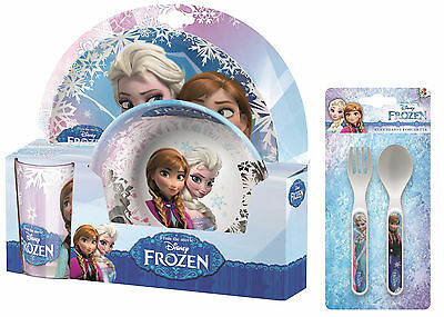 Frozen | Anna | Elsa | Sven 5pc Tumbler, Bowl, Plate Set & Cutlery | Meal Time