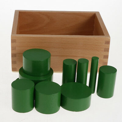 4 Sets Beechwood Montessori Knobless Cylinder Blocks Family Game Wooden Toy
