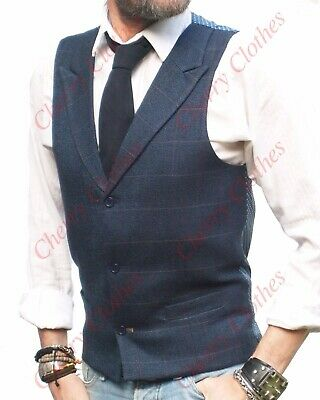 Mens Tweed Style Blue & Brown Check Lapel Collar Waistcoat Vest - Tailored Fit