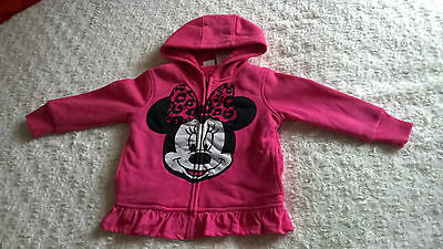 BNWOT Disney Pink Minnie Mouse Zip Up Hoodie Faux Fur Lined - AGE 2 YEARS