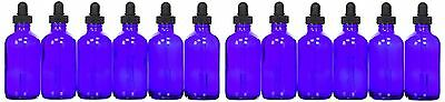 Global Glass Bottle with Glass Dropper 4 oz 12 Piece Cobalt Blue New 12-Pack