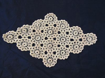 Vintage Hand Crochet Lace Doily Beige 15 x 9 inches