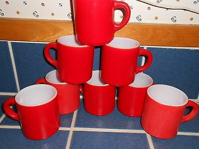 Set 8 Orange Peel Milk Glass Fire King(?) Red Mid Century Stackable Coffee Mugs