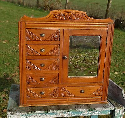 Vintage Gorgeous Kitchen Medicine Bathroom Cabinet Chest of Drawers carved Wood