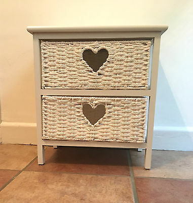 White Wood Storage with 2 Wicker Drawers Baskets Heart Shabby Chic Bedside Table