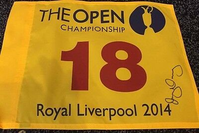RORY MCILROY SIGNED 2014 ROYAL LIVERPOOL OPEN PIN FLAG wCOA