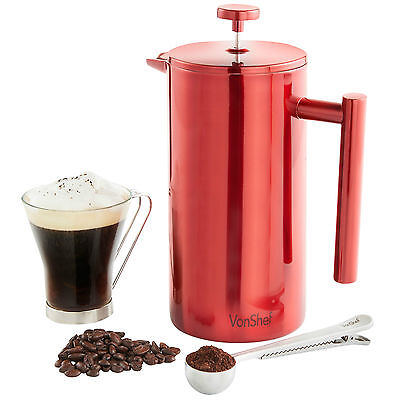 VonShef 12 Cup/1.5L Cafetiere Red Stainless Steel Double Wall Coffee Maker