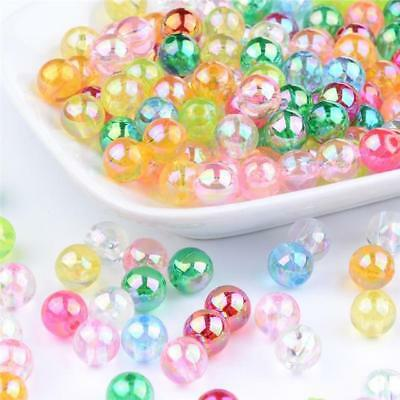 100 x 8mm ACRYLIC TRANSLUCENT AB PEARL ROUND BEADS MIXED COLOURS ACR29