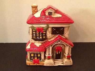 NEW Victorian Christmas Cookie Jar Winter Cottage
