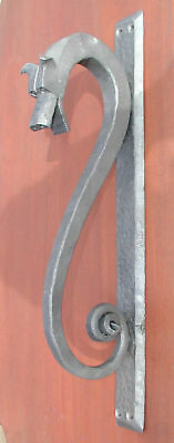 Gothic Wrought Iron Dragon with Horns, Door Pull,Handle, Forged by Blacksmith • CAD $181.86