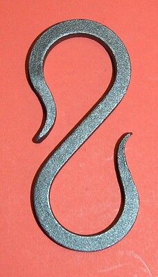 "Wrought Iron 3 1/4 in.,1/4"" square S-Hook Hanger, Hand Forged by Blacksmiths"