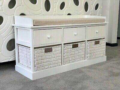 White Storage Bench Wicker Drawers Hallway Bedroom Two Seater Wood w/ Cushion