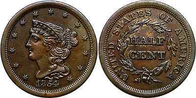 1854 1/2C BN Braided Hair Half Cent About Uncirculated Details