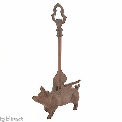 """Decorative Door Porter Flying Pig With Wings Rust Finish 15"""" Stop Farm Decor"""