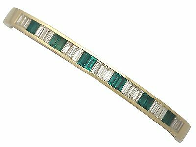 2.31 ct Diamond and 1.35 ct Emerald, 18 ct Yellow Gold Bangle - Contemporary